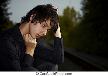 pauvre, jeune homme, séance, sur, les, ferroviaire