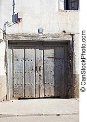 pauvre, maison, vieux, porte