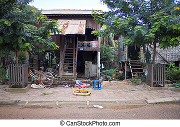 pauvre, maisons, dans, siem, récolter, cambodge
