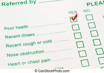 pauvre, marque, santé, marqueur, status., chèque, rouges