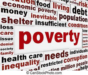 pauvreté, avertissement, message, concept