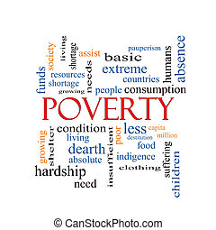 pauvreté, concept, mot, nuage