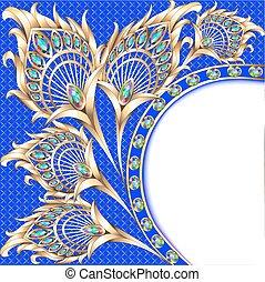 pauw, goud, ornament, illustratie, achtergrond, veer