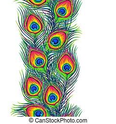 pauw, veertjes, pattern., seamless