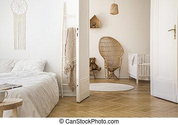 pavão, apartamento, porta, sala, chão, dobro, herringbone, tapete, berço, parquet, cama, cadeira, interior, branca, abertos, redondo, criança