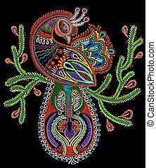 pavão, arte, pássaro, ramo, étnico, florescendo, desenho, ...