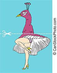 pavão, cabeça, sob, pernas, marilyn monroe