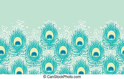 pavão, padrão, penas, seamless, vetorial, horizontais, borda