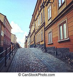 pavé, bâtiments, rue, vieux, stockholm