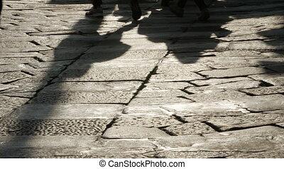 pavé, silhouettes, pavement., gens