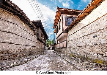 pavés, caractéristique, rue, maisons, centre, (bulgaria), koprivshtitsa, historique