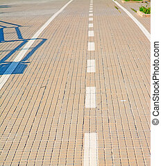 paved lane close up