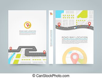 Paved path on the road. banner road book. A4 size