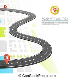 Paved path on the road, Road point location, Vector background