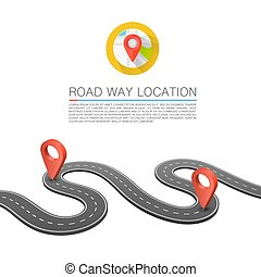 Paved path on the road, Road way location, Vector background, Curved road markings.