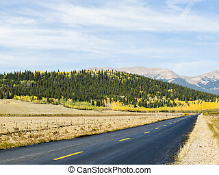 Newly paved road on autumn day in Colorado.