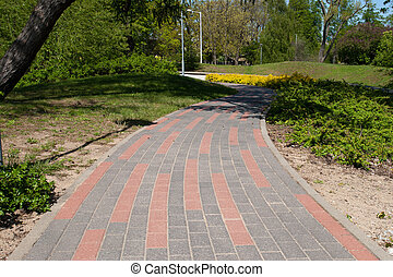 paved sidewalk in the city park