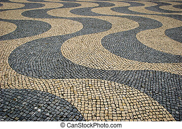 Paved sidewalk with wave pattern