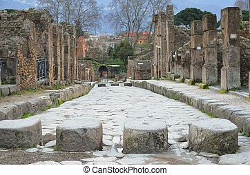 Paved street in the ancient city-town Pompeii