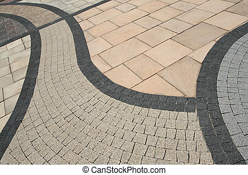 Pavement abstract - Sett blocks background texture. Tiled,...