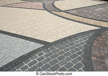 Pavement background - Sett blocks background texture. Tiled,...