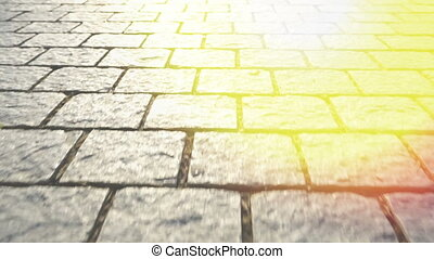 Pavement made of stone. Beautiful garden walkway. Shine of...