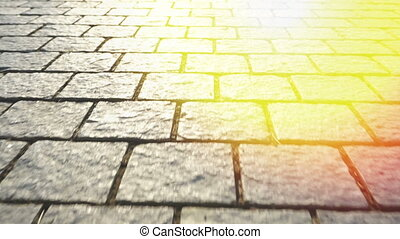Pavement made of stone. Beautiful garden walkway.