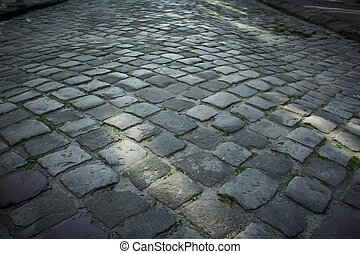 pavement of stone in Lviv