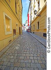 Pavement street in historic center of Bratislava