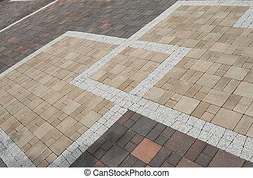 Pavement texture - Sett blocks background texture. Tiled,...