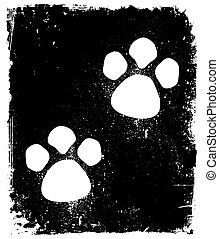 pavement., vector, huellas, animal