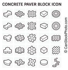 paver, bloco, ícone