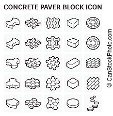 paver, blok, pictogram