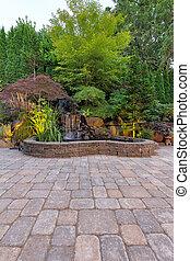 paver, brique, chute eau, patio, étang