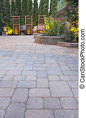 Paver Patio with Garden Decoration and Landscape Lights -...