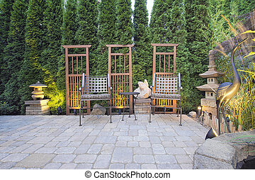 Paver Patio with Garden Decoration