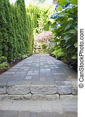 paver, sentier, jardin, walkway