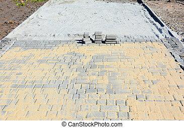 pavers., インストール, paving., 中庭, 庭