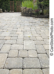 pavers, colocar, jardín, patio, charca