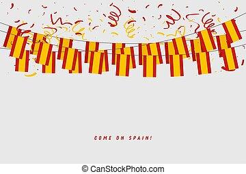 pavese, grigio, ghirlanda, banner., appendere, bandiera, fondo, sagoma, spagnolo, coriandoli, spagna, celebrazione