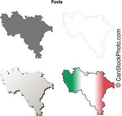 Pavia blank detailed outline map set - Pavia province blank...
