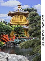 pavilhão, de, absoluto, perfeição, em, nan, lian, jardim,...