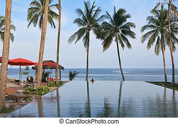 pavilhão, telhados, árvores, praia palma, vermelho