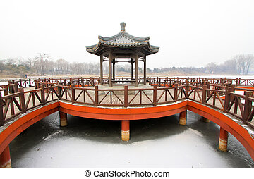 pavilion and rail in a park, traditional Chinese...