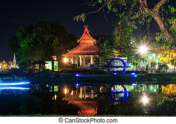 pavilion at night In Suan Luang