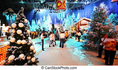 pavilion at television studio is preparing to shoot Christmas TV shows