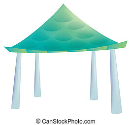 Pavilion - green  pavilion isolate in a white background