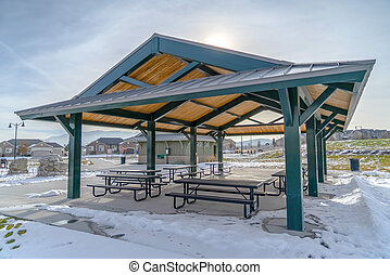 Pavilion in Eagle Mountain surronded with snow