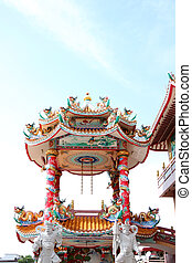 Pavilion of art in the Chinese temple.