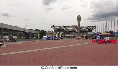 Pavilion of Lenexpo in St. Petersburg. Shot in 4K...